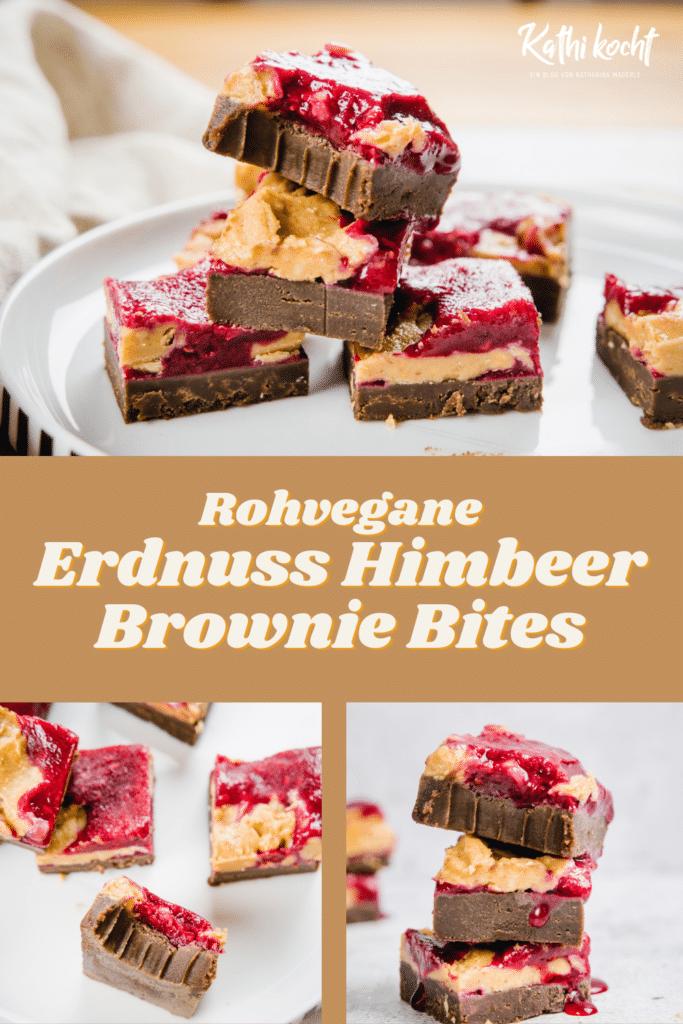 erdnuss himbeer brownie bites